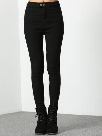 Black Skinny Woman Buttons Pant