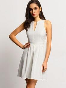 White Sleeveless Cut Out Back Pleated Dress