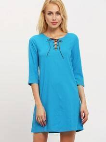 Blue Lace Up Neck Shift Dress