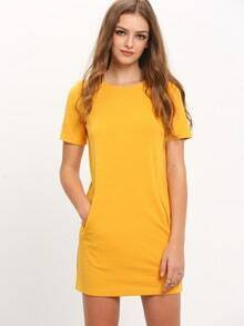 Yellow Crew Neck Shift Dress