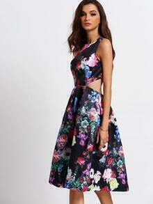 Multicolor Sleeveless Back Cut Out Floral Dress