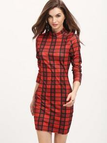 Red Plaid Mock Neck Bodycon Dress