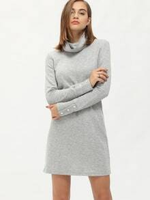 Grey High Neck Button Cuff Tshirt Dress