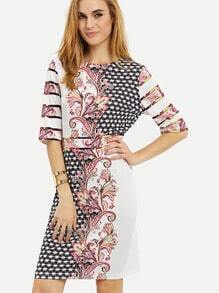 Crew Neck Tribal Print Sheath Dress