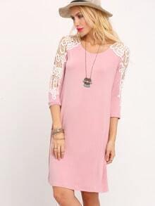 Nude Scoop Neck Crochet Sleeve Dress
