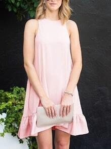 Pink Crew Neck Sleeveless Flounce Dress