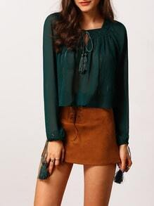 Dark Green Square Neck Keyhole Front Blouse