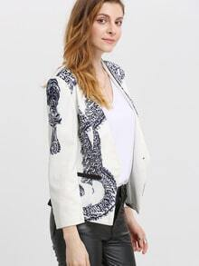 White Collarless Polk Print Crop Coat