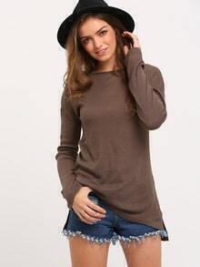 Army Green Crew Neck Side Slit T-Shirt