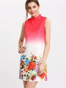 Color Block Mock Neck Sleeveless Floral Dress
