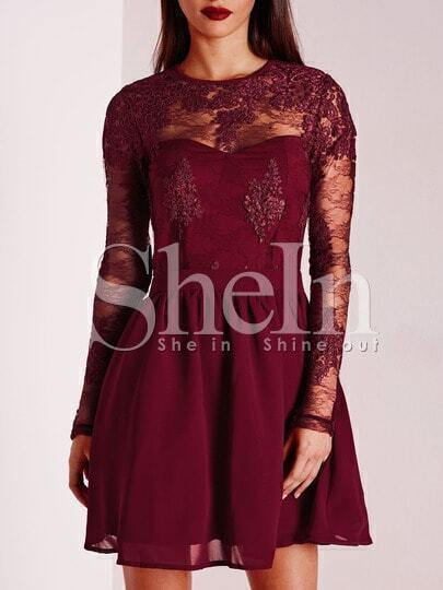 Burgundy Crew Neck Applique Pouf Dress