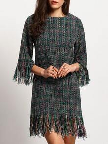 Crew Neck Fringe Hem Tweed Tunic Dress