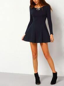 Navy Wide Neck Backless Skater Dress