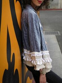 Blue Vertical Striped Crochet Hem Coat