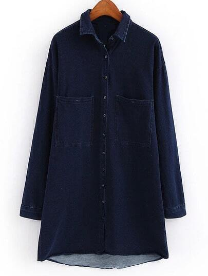 Navy Lapel Pockets Buttons Denim Shirt Dress Shein Sheinside