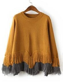 Yellow Crew Neck Tassel Loose Sweater