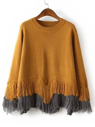 Yellow Crew Neck Tassel Loose Sweater