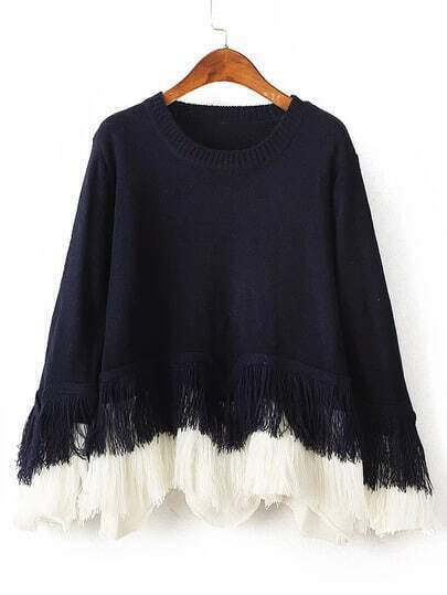 Black Crew Neck Tassel Loose Sweater