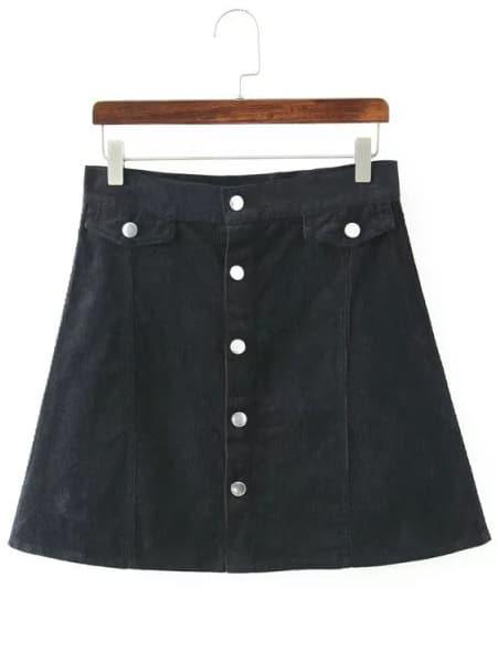 black buttons a line corduroy skirt shein sheinside