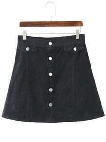 Black Buttons A Line Corduroy Skirt