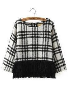 White Black Round Neck Plaid Tassel Sweater
