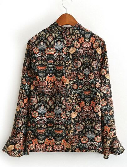 Colour Stand Collar Bell Sleeve Floral Blouse