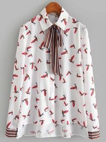 White Long Sleeve Bow Birds Print Blouse