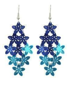 Blue Metal Flower Shape Fancy Earrings