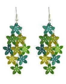 Green Metal Flower Shape Fancy Earrings