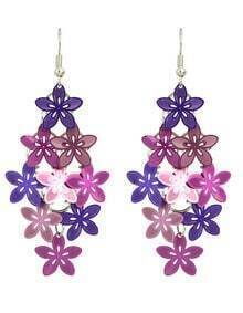 Purple Metal Flower Shape Fancy Earrings