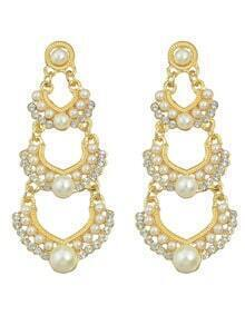 Gold Plated Long Pearl Earrings