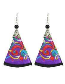 Purple Artificial Triangle Pendant New Model Earrings