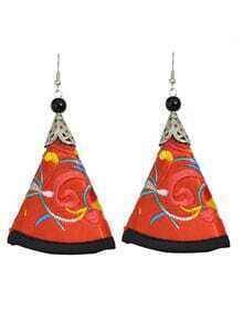 Red Artificial Triangle Pendant New Model Earrings