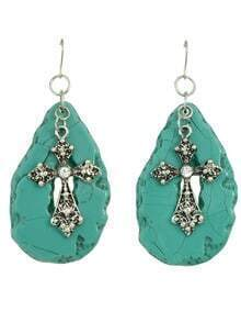 Blue Imitation Gemstone Large Latest Design Cross Earrings