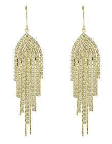 Gold Plated Rhinestone Long Gold Jhumka Earrings