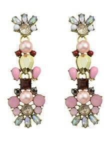 Colorful Rhinestone Long Flower Earrings