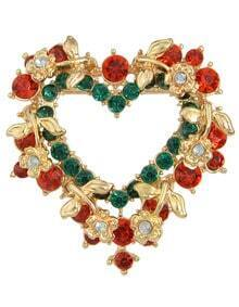 Heart Colorful Rhinestone Brooch for Women