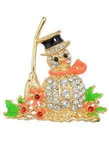 Colorful Snowman Rhinestone Brooch