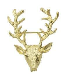 Gold Plated Deer Head Small Christmas Brooch