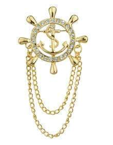 Gold Plated Long Chain Rhinestone Brooch