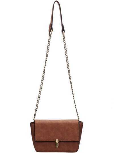 Brown Push Lock Chain Bag