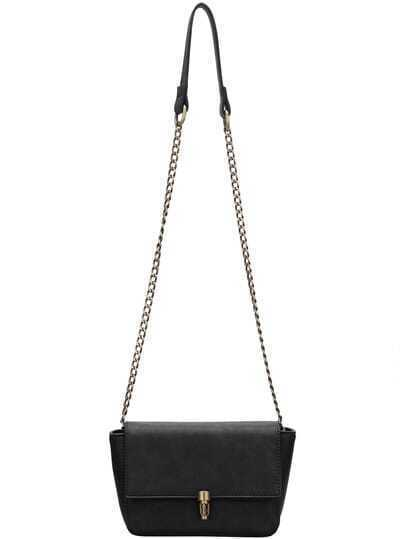 Black Push Lock Chain Bag