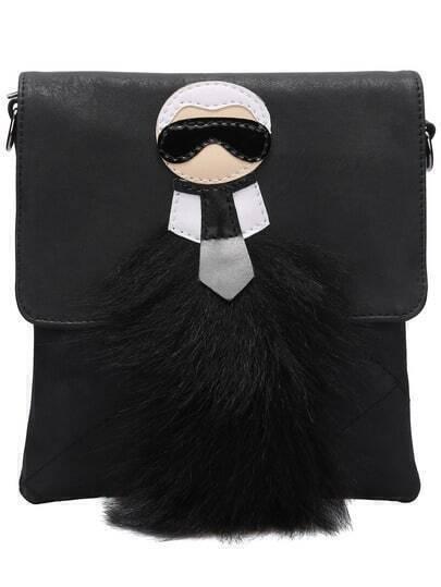 Black Quilted Fur Satchel Bag