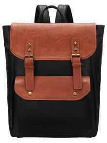 Color Block Magnetic PU Backpacks