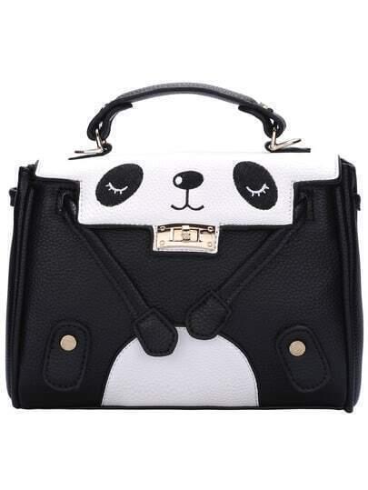 Twist Lock Large Panda Shoulder Bag