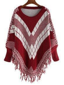 Burgundy White Geometric Print Tassel Cape Sweater