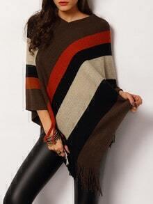 Colour-block Tassel Loose Cape Sweater