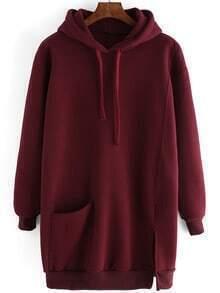 Burgundy Drawstring Hooded Split Loose Sweatshirt
