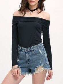 Black Off the Shoulder Slim T-Shirt