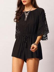 Black Round Neck Lace Drawstring Waist Jumpsuit